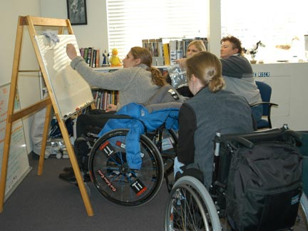 Students in wheelchairs in classroom
