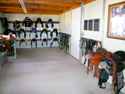 Saddles in tack room