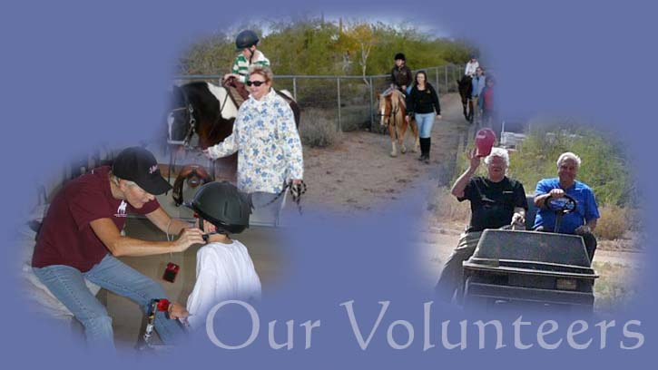 Our Volunteers, volunteer helping student with helmet, volunteers leading students on trail ride, volunteers in golf cart