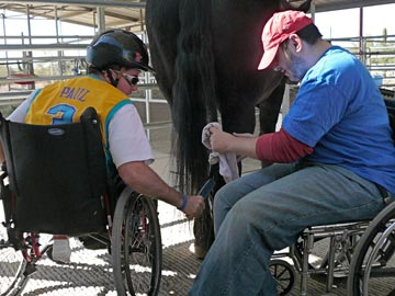 student and volunteer in wheelchairs grooming a horse